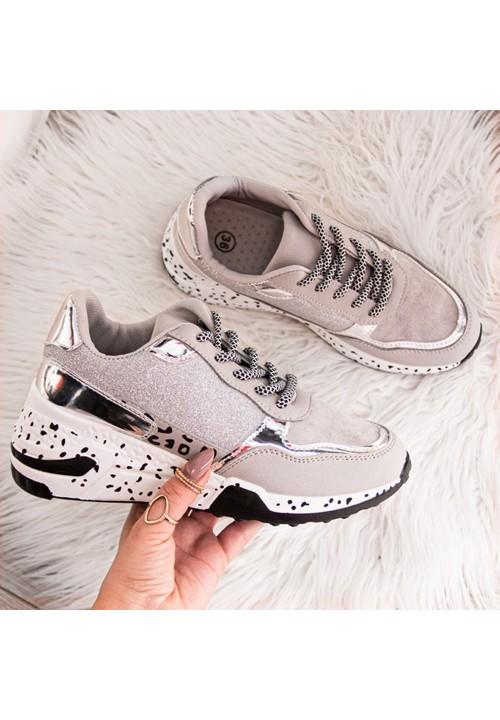 Trampki Sportowe Sneakersy Srebrne Power New