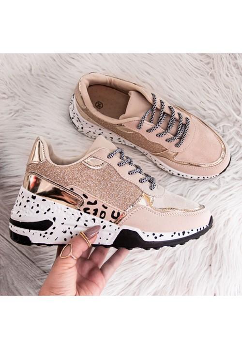 Trampki Sportowe Sneakersy Złote Power New