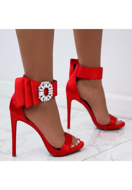 Sandałki Szpilki Satynowe Czerwone Cute Satin