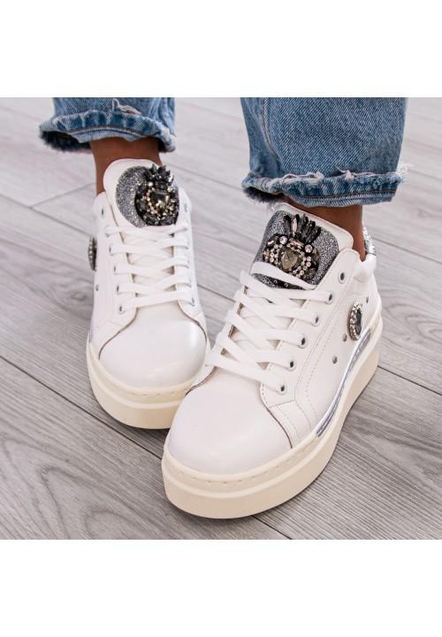 Trampki Sneakersy z Kryształami Białe Robina