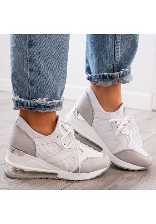 Trampki Sneakersy na Koturnie Biało Szare Timo
