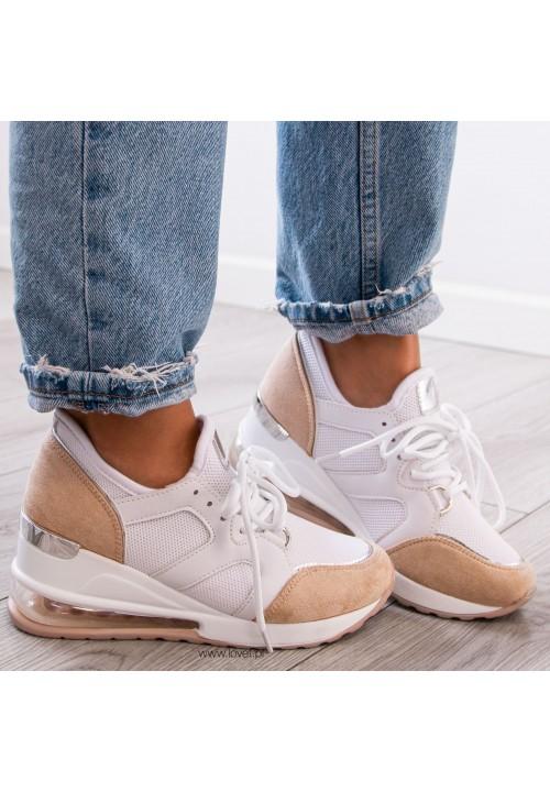 Trampki Sneakersy na Koturnie Biało Beżowe Timo