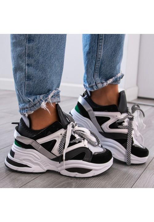 Trampki Sneakersy Sznurowane Biało Czarne Amina