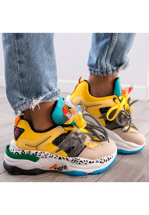 Trampki Sneakersy Sportowe Żółte Revi