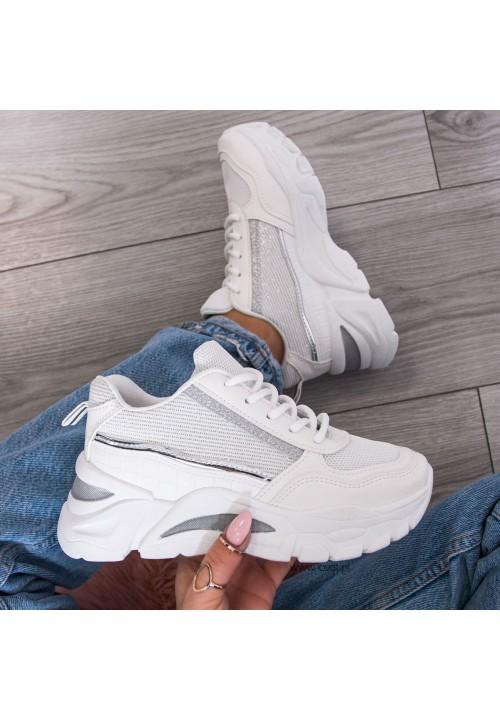 Trampki Sneakersy Sportowe Białe Evelyn