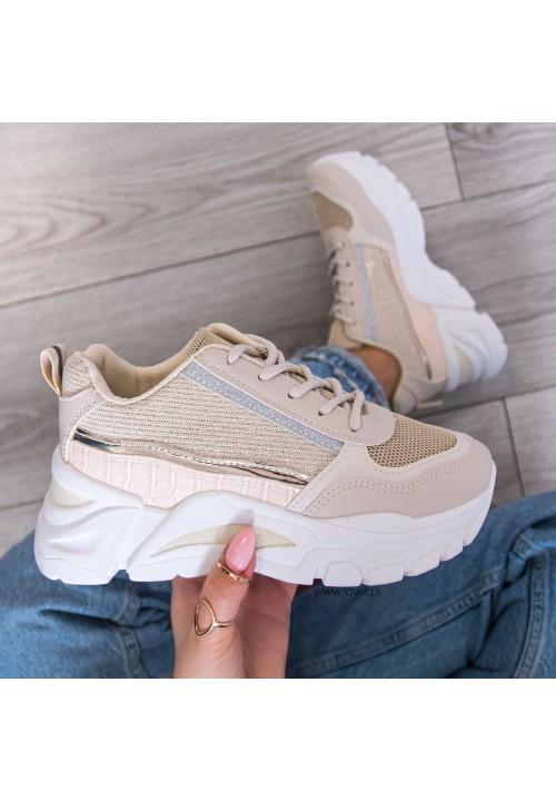 Trampki Sneakersy Sportowe Beżowe Evelyn