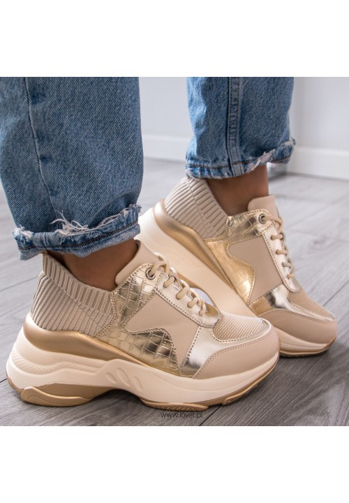 Trampki Sportowe Sneakersy Beżowe Diana