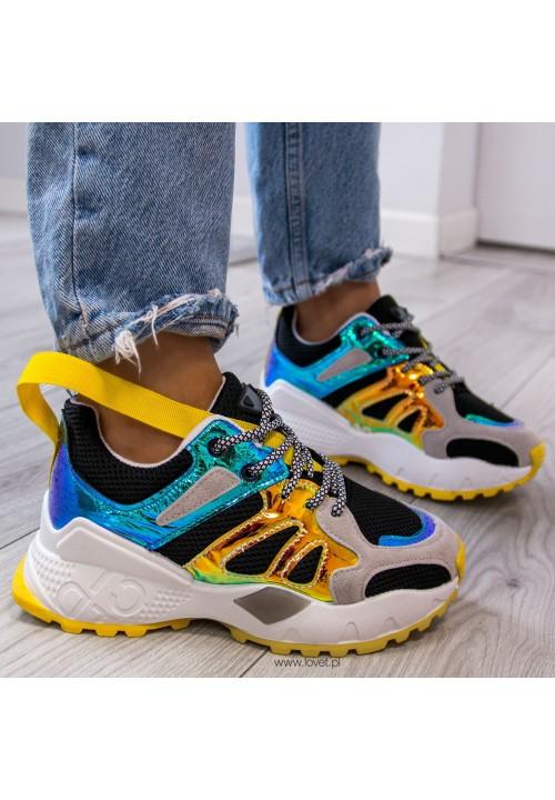 Trampki Sneakersy Czarno Żółte Blanca