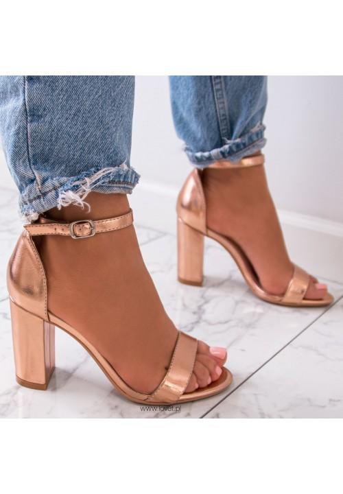 Sandałki Klasyczne na Słupku Różowe Złoto Silvia