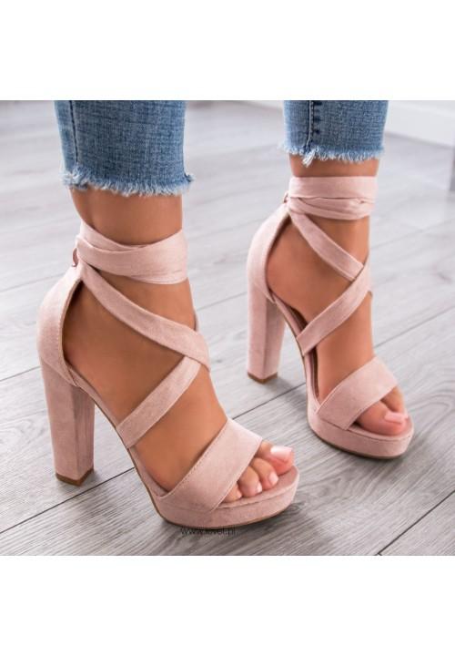 Sandały Platformy Beżowe Sandals Lace Up