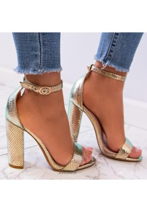 Sandały na Słupku Wężowe Złote Ariello