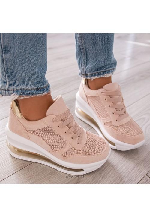 Trampki Sneakersy na Koturnie Beżowe Rosa