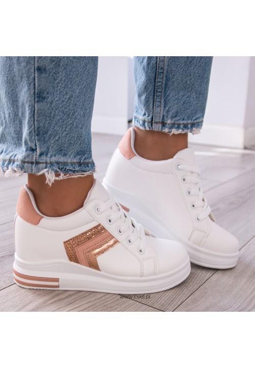 Trampki Sneakersy na Koturnie Biało Różowe Rubi