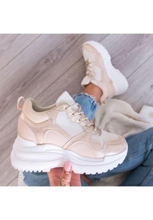 Trampki Sportowe Sneakersy Beżowe Abbi