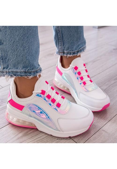 Trampki Sneakersy Biało Różowe Neon Leni