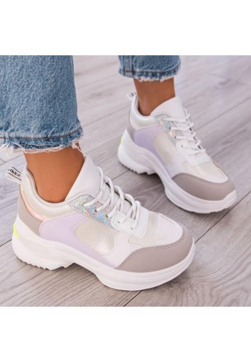 Trampki Sportowe Sneakersy Szaro Białe Berni