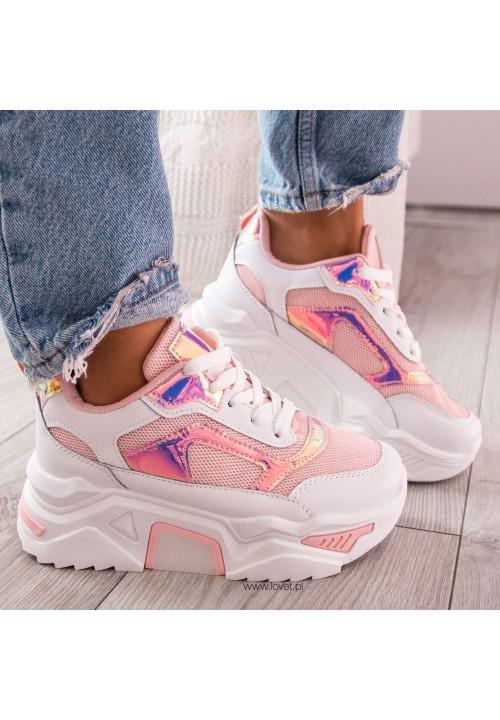 Trampki Sneakersy Sportowe Różowe Monise