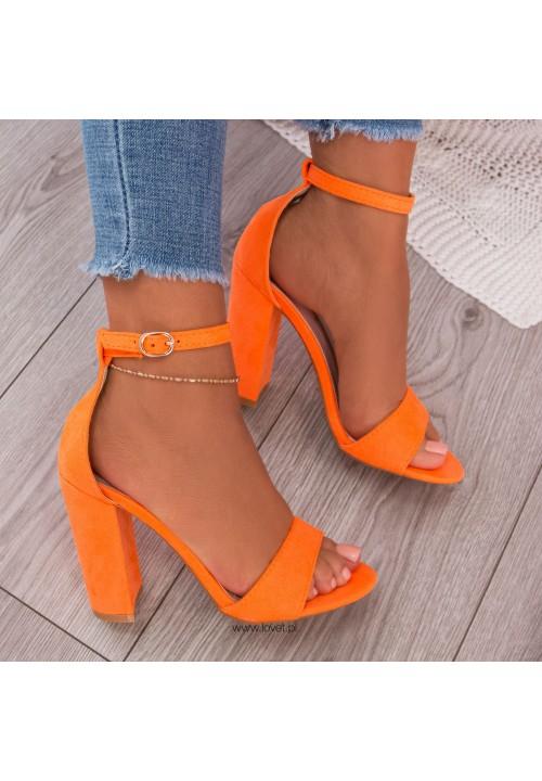 Sandały na Słupku Zamszowe Neon Orange Vicky