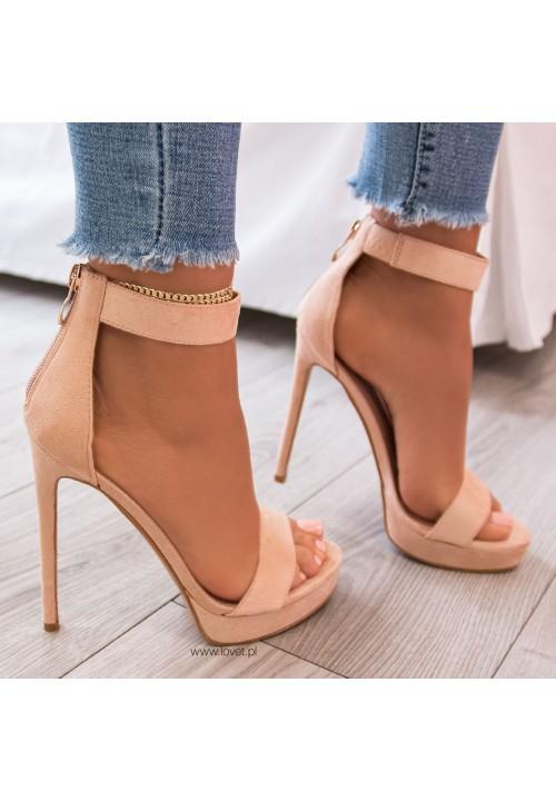 Sandały Szpilki na Platformie Zamszowe Beżowe Kama