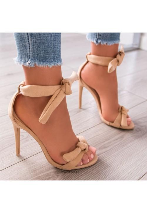 Sandałki Szpilki Zamszowe Beżowe Carolla