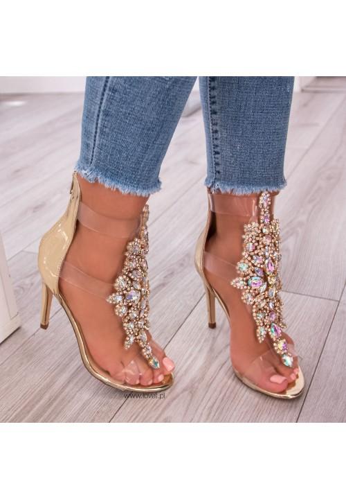 Sandały Szpilki Lustrzane Złote Colly