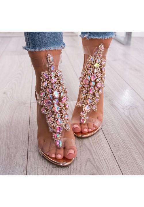 Sandały Szpilki Lustrzane Różowe Złoto Colly