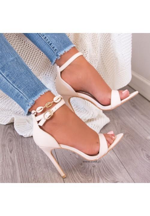 Sandały Szpilki Beżowe Amelia