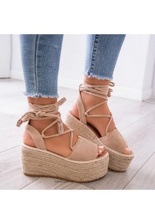 Sandały Espadryle na Platformie Beżowe Lydie