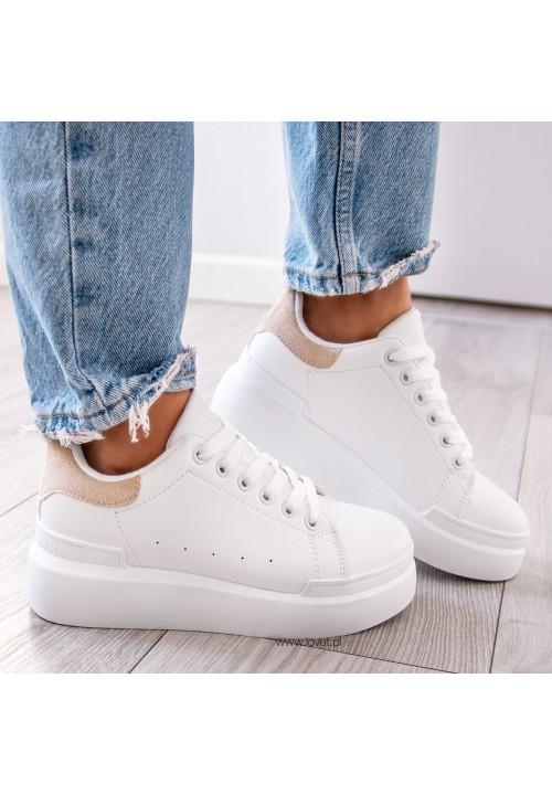 Trampki Sneakersy Biało Beżowe Paddy Two
