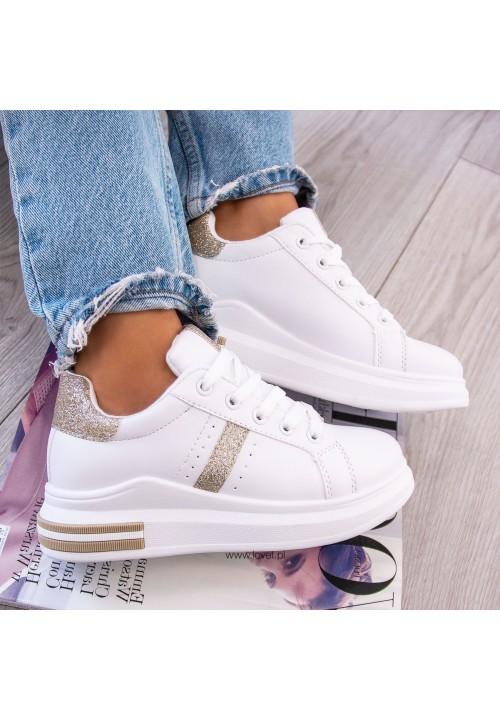 Trampki Sneakersy Biało Złote Eddie