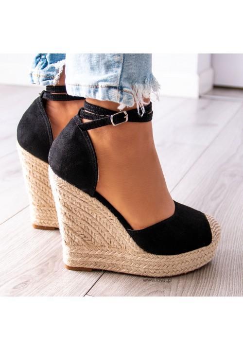 Sandały Espadryle Koturny Czarne Becky