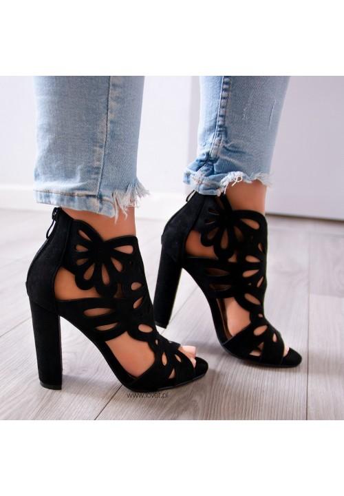 Sandałki na Słupku Zamszowe Czarne Stella