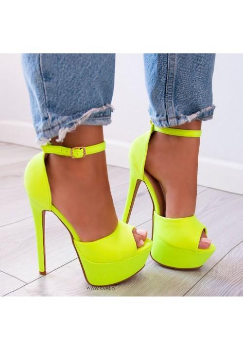 Sandałki Szpilki na Platformie Neonowe Żółte Alexa