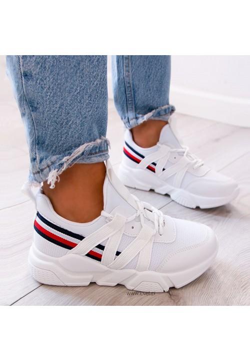 Trampki Sneakersy Wsuwane Białe Just