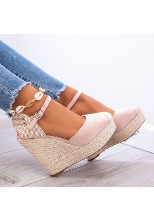 Sandały Espadryle Koturny Zamszowe Beżowe Hayley