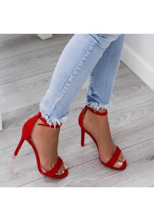 Sandałki Zamszowe Czerwone Arlette