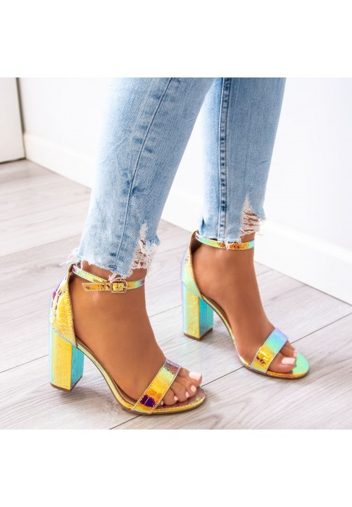 Sandały na Słupku Opalizujące Złote Ariel