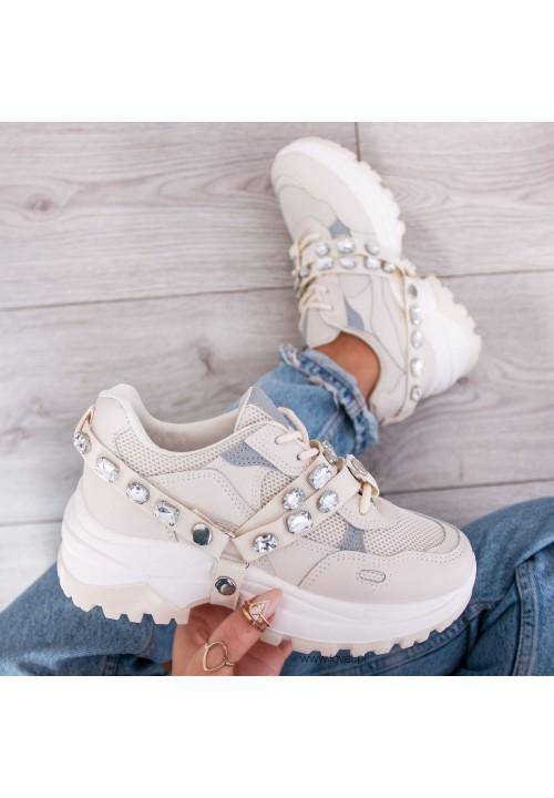 Trampki Sneakersy Beżowe Silver Crystal
