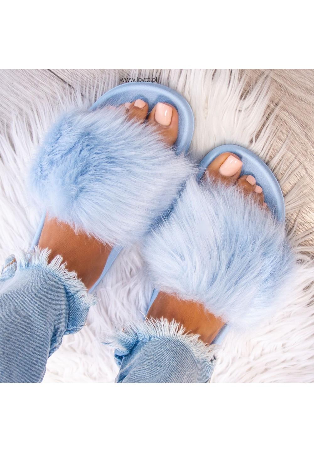 Klapki Gumowe Niebieskie Fluffy Long