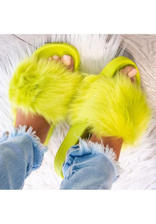 Klapki Gumowe Seledynowe Fluffy Long