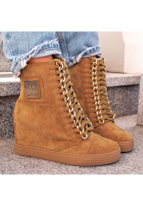 Trampki Zamszowe Camel Sneakers Glam Gold