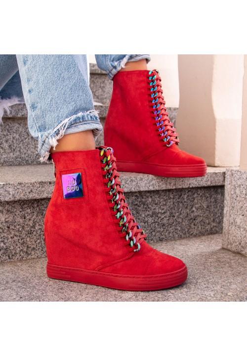 Trampki Koturny Zamsz Czerwone Sneakers Glam Opal