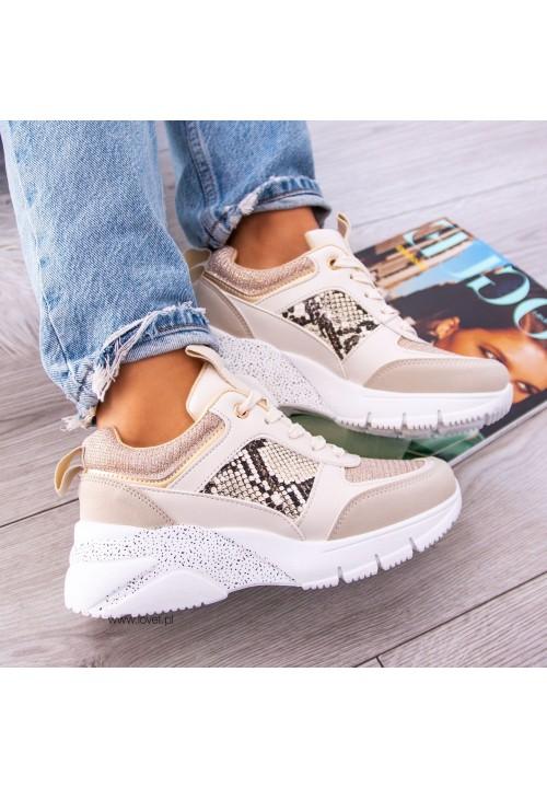Trampki Sportowe Sneakersy Beżowe Vera
