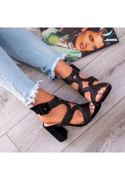 Sandały Na Słupku Czarne Tess