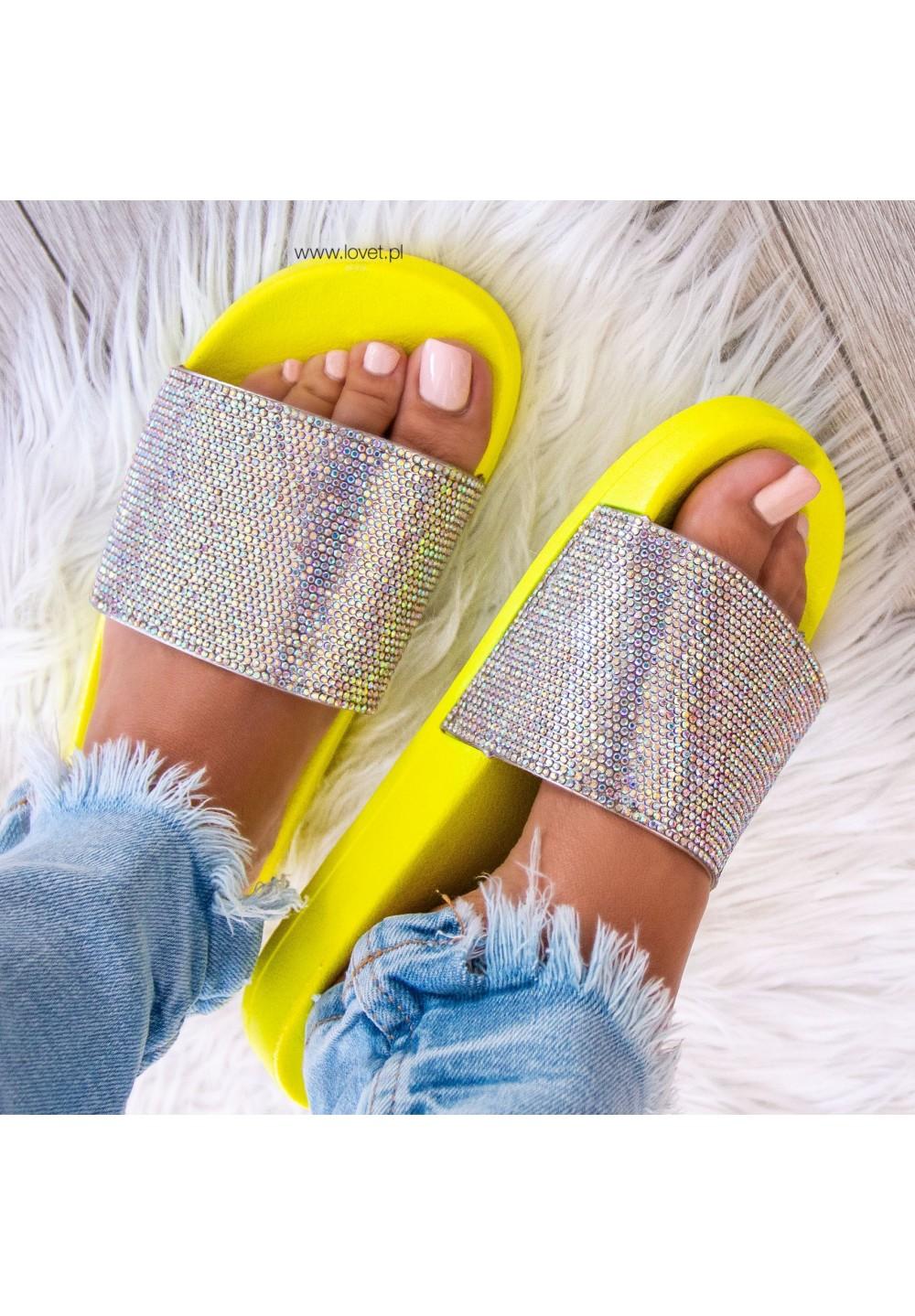 Klapki Opalizujące Neonowy Żółty Cristal Colour
