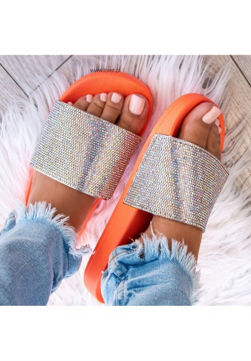 Klapki Opalizujące Pomarańczowe  Cristal Colour