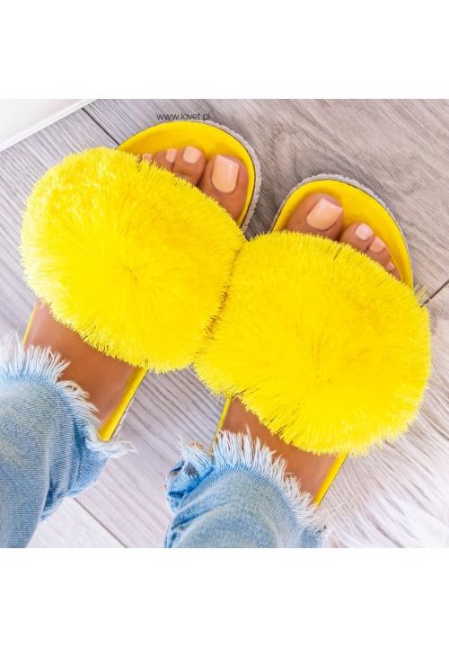 Klapki Zamszowe Żółte Agnes