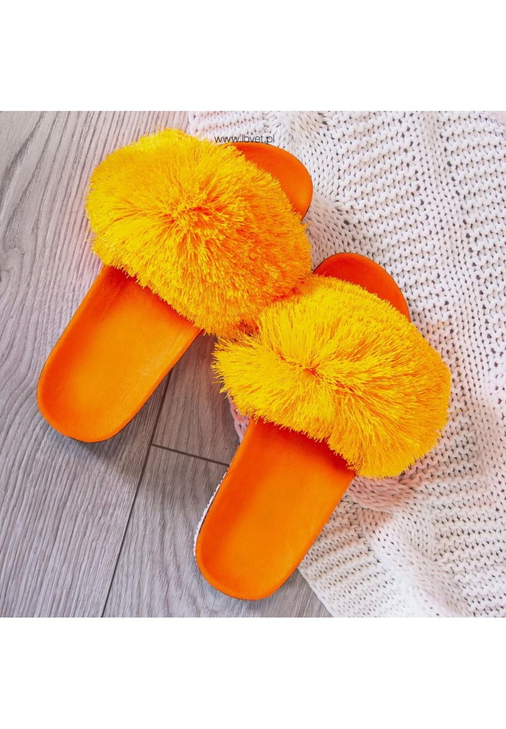 Klapki Zamszowe Pomarańczowe  Agnes