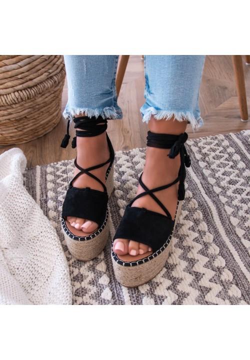 Sandały Espadryle na Platformie Czarne Lydie