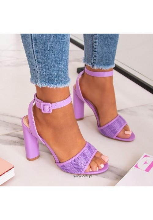 Sandałki na Słupku Fioletowe Estela